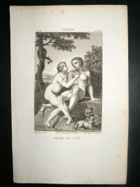 After Cignani C1810 Antique Print. Adam Et Eve, Nudes